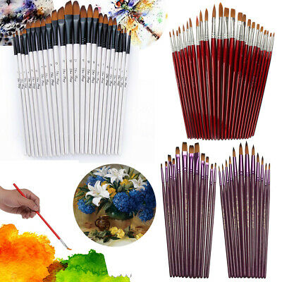 12/24Pcs Oil Painting Brushes Acrylic Nylon Watercolor Artist Face Paint Craft