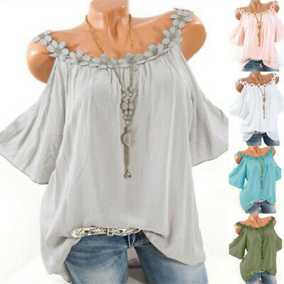 Womens Summer Lace Solid Tops Shirts Ladies Cold Shoulder Loose Blouse Basic Tee