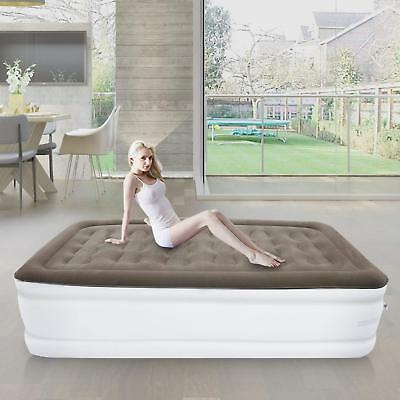 Airbed Electric Inflatable Mattress With Built-In Air Pump Queen Raised Rest ESM