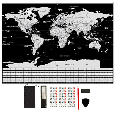 GBATERI Large Scratch Off World Map Poster-Silver Foil Scratchable Personalized