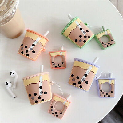 3D Cute Milk Tea Drink Cup Earphone Bag Cover For apple Airpods Case Holder Bag