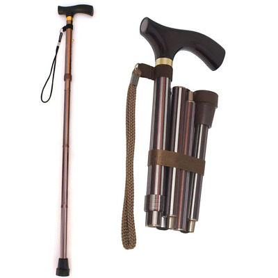 Collapsible Folding Cane Ultralight 4-section Aluminum Alloy Walking Stick Trail