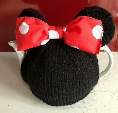 Hand Knitted / Crochet Minnie Mouse Inspired Tea Cosy For Large Pot 2.5 - 3 Pint