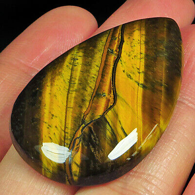 59.25Ct 100% Natural African Yellow Blue Tigereye Cab MSHY620