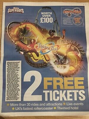 2 X Thorpe Park Tickets, Booking Form + All 10 Tokens