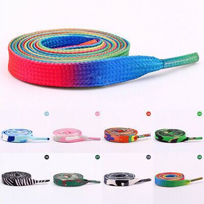 Rainbow Coloured Shoe Laces Shoelace Strings Sneaker Roller Skates Flat Sneaker
