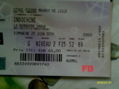 1 Place Concert Indochine 23 juin 2019 Lille Stade Pierre Mauroy cat 2
