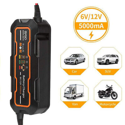 12V 5A Excelvan Car Trickle RV 8 Step Motorcycle Automatic Smart Battery Charger