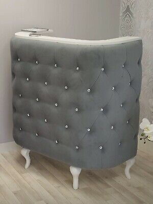 Curved Reception Desk Beauty Hair Retail cash desk padded RD1 Grey fabric