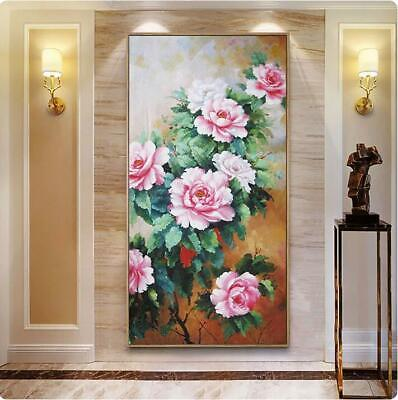 """YA189 Large 100% Hand-painted FLOWER oil painting Peony Unframed 24""""x48"""""""