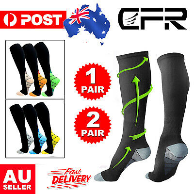 Unisex Compression Socks Medical Travel Running Anti Fatigue Stockings 1-3 Pairs