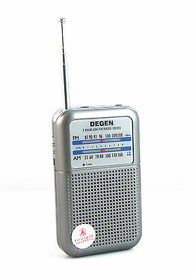 DDEGEN Portable FM/AM 2 Band Radio AM (530~1600KHz) FM (87~108MHz) Mini Handle