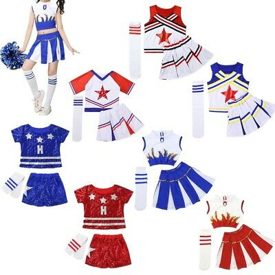 Children Girls Modern Jazz Dance Gym Outfit Cheerleader Carnival Party Show Wear