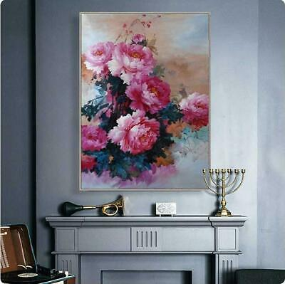"""YA190 100% Hand-painted FLOWER oil painting Peony Unframed 24""""x36"""""""