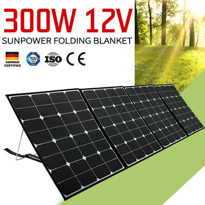 300W 12V Folding Solar Panel Blanket Sun Power Cells Regulator With USB Socket