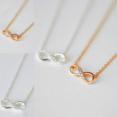 Infinity Symbol Crystal Pendant Necklace Silver Gold Plated Style For Lovers
