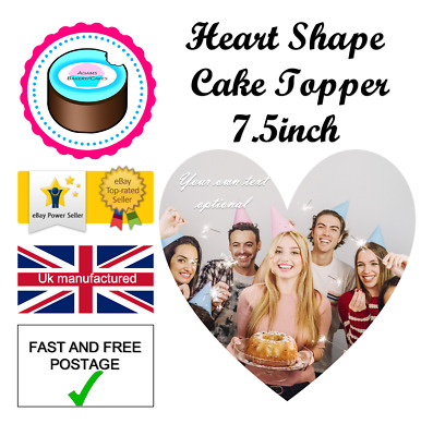 YOUR OWN EDIBLE PHOTO 7.5inch HEART SHAPE cake topper ANY images ICING OR WAFER