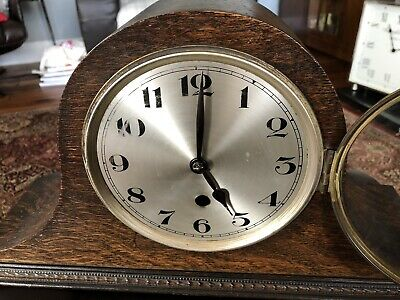 MANTEL CLOCK, ?age, Works, Unsure Of Maker, No Name On The Mechanism. Nice Cond'