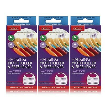 3x Acana Hanging Moth Killer and Lavender Freshener White (Pack of 4) Not Stain