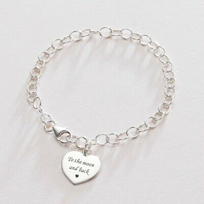 Personalised Sterling Silver Charm Bracelet with Engraved Heart Charm, Engraving