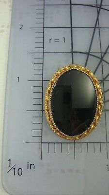 "Vtg Miniature Oval 12K Gold Filled Onyx 1 1/8"" Oval Pin Brooch By P Inc (Cc-24)"