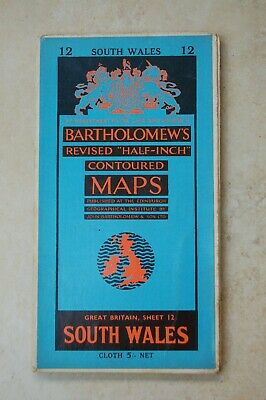 Vintage Bartholomew's Contoured Map of South Wales, dated 1956