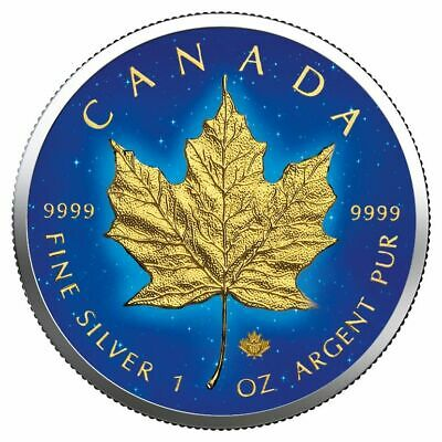 CANADA 2019 $5 MAPLE LEAF 1 Oz 9999 SILVER COLOR MINTAGE 100 PCS WITH COA v2