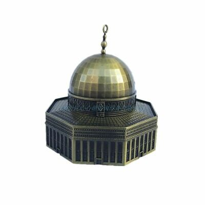 Retro Bronze Figurine Metal Dome Rock Statues Mosque Building Model Vintage Home