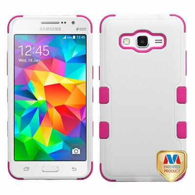 For G530 Galaxy Grand Prime Natural Cream White/Hot Pink TUFF Hybrid Case Cover