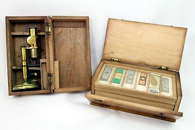 Vintage Small Brass Microscope in Box + Wooden Storage Box inc 21 Slides