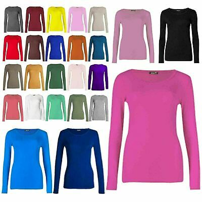 Womens Ladies Stretch Long Sleeves Plain Round Neck T-Shirt Top Casual