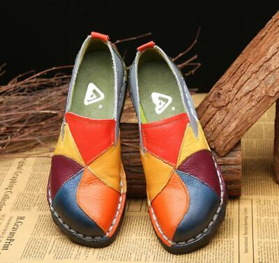 Women Leather Flat Slip On Loafers Boat Soft Comfort Casual Shoes Retro Handmade