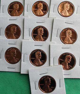 1990 S thru 1999 S Proof Lincoln One Cent 10 Coin Lot Set Penny Collection 1c