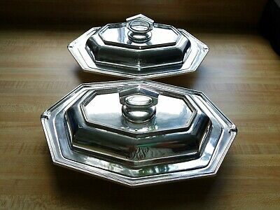 Victorian Silver Plated Entree Dishes Pair Engraved Monogram EPNS