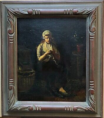 Oil on Board Painting of Young Woman, Artist Signed J. Greenwood
