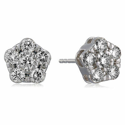 1 cttw Diamond Stud Earrings In 14K White Gold I1-I2 Clarity Round Push-Backs