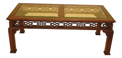 F47356EC: Chinese Chippendale Mahogany Coffee Table w. Glass Top
