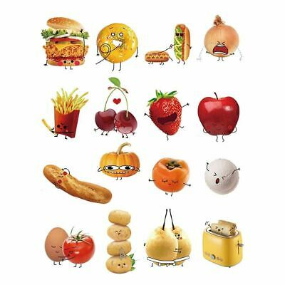 decalmile Stickers Cuisine Aliments Emoji Autocollant Décoration Murale Amovible