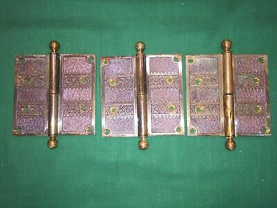 3 Antique Eastlake Cast Bronze Victorian Ball Tipped Hinges - 4 1/2 X 4 1/2
