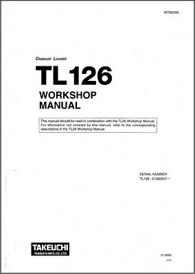 TAKEUCHI TL12 TRACK Loader Service Workshop and Parts Manual CD - TL