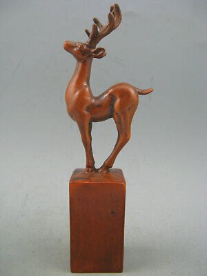 Antique Chinese Old Boxwood Hand Carved Deer Seal Statue
