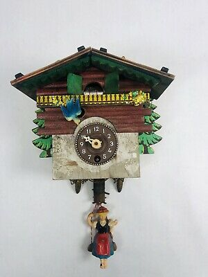 Vintage Small Wall Mount Cuckoo Clock Wind-up German Girl Swinging Not Working
