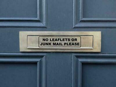 NO JUNK MAIL or LEAFLETS Self Adhesive Vinyl Sticker Letterbox Door Sign Post