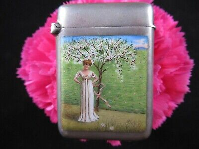 Antique Silver and Enamel Match Safe Vesta Case Beautiful Girl Picture