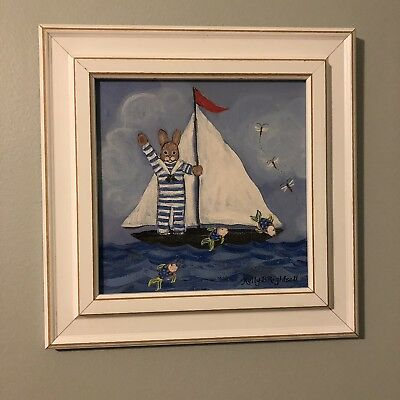 Kelly B. Rightsell Sailing Bunny Nautical Nursery Painting Picture Wall Hanging