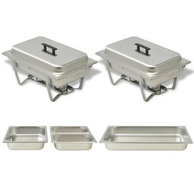 Set of 2 Chafing Dish Set Steel Buffet Catering Dish Pan Food Warmer Container