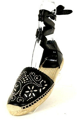1c06c229d YSL SAINT LAURENT Black Leather Floral Studded Lace Up Espadrilles 38.5