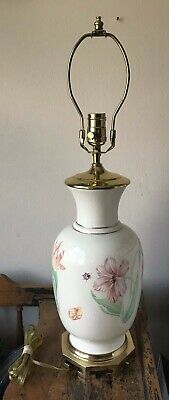 Lenox Butterfly Meadow Large Table Lamp Oriental Brass Base Usa Rare