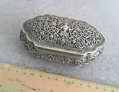 QUALITY,  SHAPED INDIAN ANTIQUE SOLID SILVER LIDDED BOX.     119GMS.     c.1890.