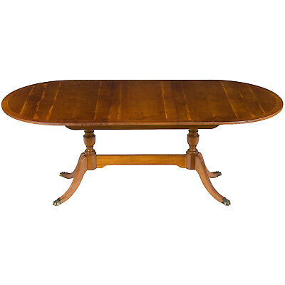 Vintage Yew Wood Dining Room Table with Self Storing Leaf Extending Antique